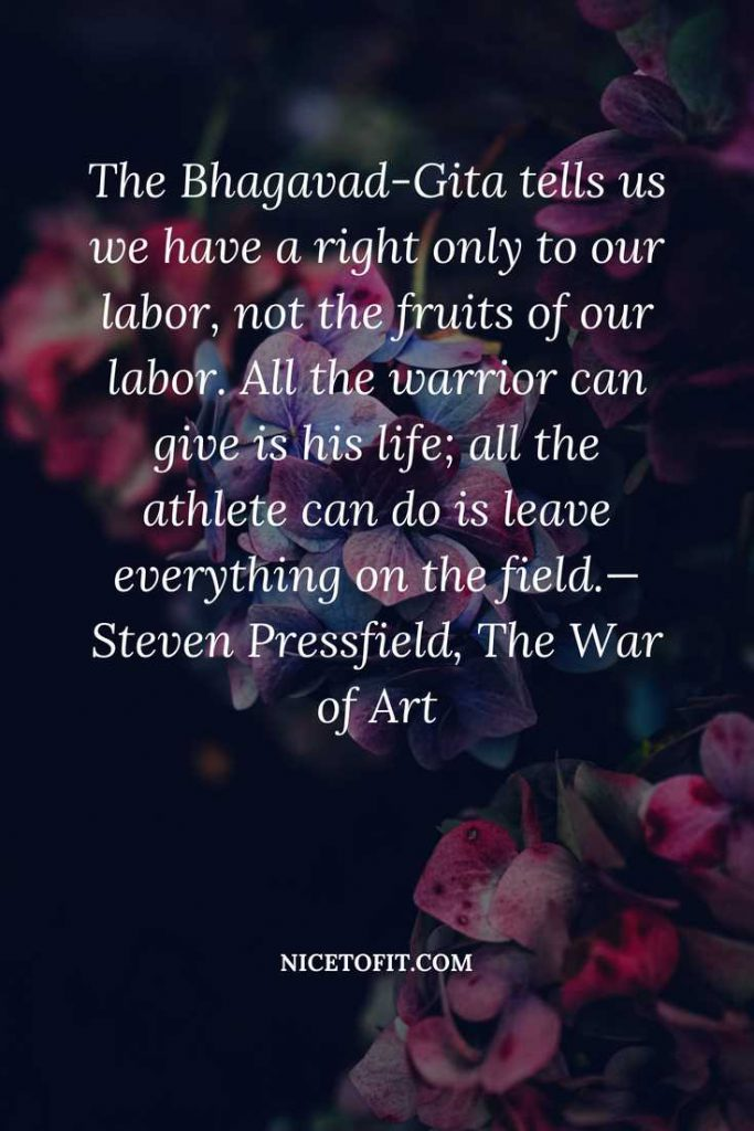 The Bhagavad-Gita tells us we have a right only to our labor, not the fruits of our labor. All the warrior can give is his life; all the athlete can do is leave everything on the field.— Steven Pressfield, The War of Art