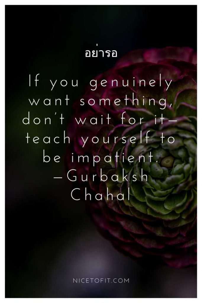 If you genuinely want something, don't wait for it—teach yourself to be impatient.—Gurbaksh Chahal